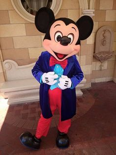 Mickey Mouse in his Diamond Anniversary outfit.