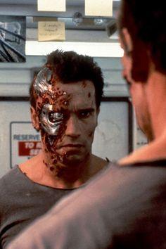 Arnold Schwarzenegger as The Terminator in Terminator Judgement Day Terminator Makeup, Terminator 1984, Terminator Movies, Arnold Schwarzenegger Movies, Arnold Schwarzenegger Bodybuilding, Movie Props, Movie Tv, King Kong, Kyle Reese