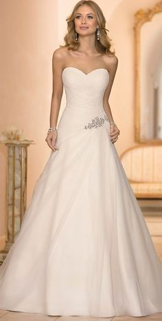 (wedding dress with ruching and bling)