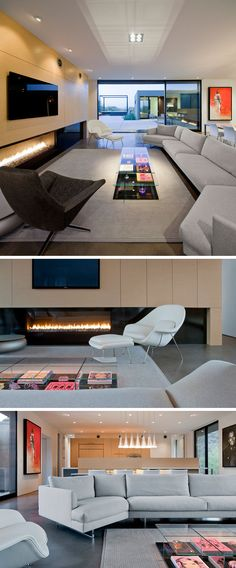 This contemporary living room is focused on a wall with a long horizontal fireplace and television.
