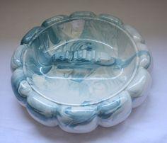 "Large Ceramic Ashtray Ribbed Puffed Blue Retro Ribbed 11"" X 3""H"
