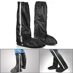 """1 Pair Double Sealed Zippered Riding Velcro Waterproof Motorcycle Biker Black Shoe Gear Rain Boot Covers With Glow Safety Reflector Fit US Size 11.5-13 by Astra Depot. $22.99. Specifications: • Condition: Brand new • Package includes: one pair of waterproof rain boot covers • Boot Leg length(approx.): 18.9"""" (48cm) • Sole size(approx.): Length: 12.2"""" (31cm); Width: 4.9"""" (12.5cm) • Shoes cover size fits: Euro 46-47 / US 11.5-13 • Material: High quality n..."""