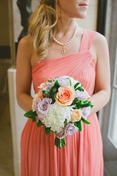 #Jcrew #bridesmaids dress in #coral #rustic #bouquet #succulents #jcrewweddings -Aime Schroeder Photography