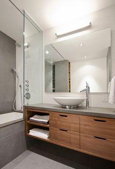 93 Modern Bathroom Vanity Design Models - Here's A Simple Way to Beautify Modern Bathroom Vanity Modern Bathroom Vanities Bathroom En Suite Wood Bathroom, Laundry In Bathroom, Bathroom Renos, Bathroom Furniture, Bathroom Storage, Bathroom Interior, Master Bathroom, Bathroom Cabinets, Bathroom Ideas