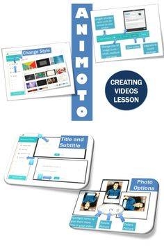 •The easiest way to make beautiful videos online •Stunning video styles •Add captions and titles to your photos and video clips •Make free short videos.  This lesson includes screen shots and step-by-step instructions to help teachers and students create amazing online videos using Animoto.