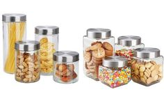 image for Home Basics Glass Canister Set with Airtight Lids (8-Piece)