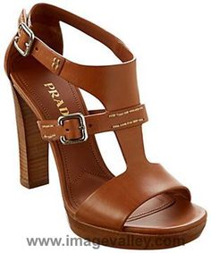 Prada Leather Stacked Heel Sandal 2016 | Image Valley