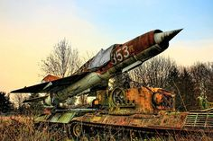 The world even boasts #abandoned transport musuems - check out this old tank and MiG-21 fighter slowly rusting away!