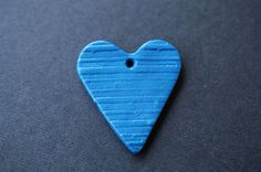 Blue Heart Drop Polymer Clay Drop Heart Pendant Striped