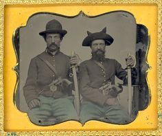 Outstanding Sixth Plate Ruby Ambrotype of Two Civil War Soldiers (c.  1860).