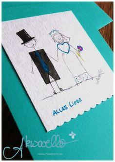 Grußkarten zur Hochzeit by Akwarello #wedding #Glückwunschkarten #Brautpaar #blue #blau #greetingcards #congratulation #felicitation