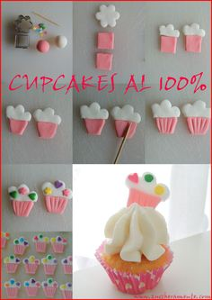 fondant cupcake topper step by step. Cake Decorating Techniques, Cake Decorating Tutorials, Cookie Decorating, Fondant Cupcake Toppers, Cupcake Cookies, Cupcakes Decorados, Decoration Patisserie, Cute Cupcakes, Valentine Cupcakes