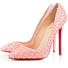 Christian Louboutin Pigalle Spikes featuring polyvore, fashion, shoes, pumps, heels, christian louboutin, louboutin, baby pink and spring/summer