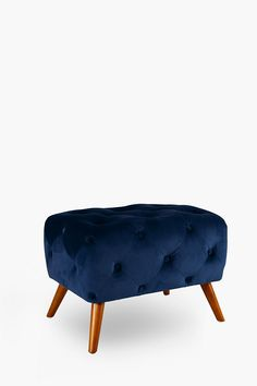 Velvet Deep Button Stool - Shop New In - Furniture - Shop Large Furniture, Upholstered Furniture, New Furniture, Wood Crosses, Stool, Chair, Chaise Sofa, Foot Rest, Dark Colors