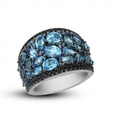 Charles Krypell Sterling Silver Roxy Blue Topaz Concave Ring