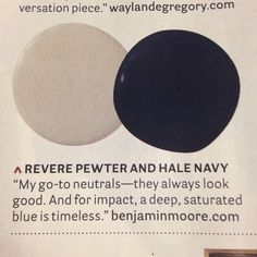 Thanks @ladolcevitablog for mentioning us in @housebeautiful Revere Pewter and Hale Navy are two of our favs too! #BenjaminMoore