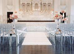 Pink ceremony decor.