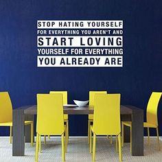 So many things try to drag us down in life, but it's important to remember those things that build us up. This vinyl wall decal reminds those who see it that there are plenty of reasons to love and appreciate who you are.