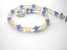 Yellow and Blue Bracelet  Citrine Beaded Bracelet by PhreshThreadz, $18.00