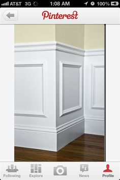Easy wainscotting idea: buy frames from Michael's, glue to wall and paint over entire lower half. Got this tip from a savvy home improvement person.