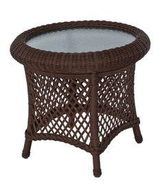 Outdoor Round Wicker End Table: Savannah via @Wicker Paradise #outdoor #wicker #table #round www.wickerparadise.com
