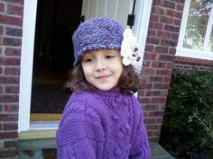 ToddlersGirls teenspurple Hat with a big white  by inspirebynancy, $20.00