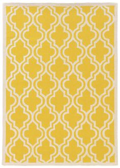 Linon Rugs Silhouette Quatrefoil Yellow/Ivory Area Rug & Reviews | Wayfair $200 for 5 by 7 for kitchen
