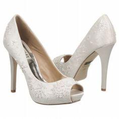 Women's Badgley Mischka  Stella White Satin Shoes.com