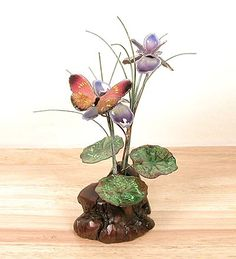 Butterfly and Iris Sculpture by Bovano of Cheshire
