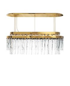 The myth is shaped into a luxury lighting suspension and present in every handmade crystal glass. The rectangular gold plated brass levels conceive an exclusive pattern of lighting refraction and create fantastical shades on their surroundings. Designed to brighten a contemporary space with the most elegant presence.
