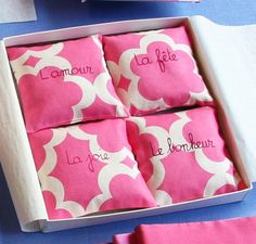 Box of 4 printed cotton French lavender sachets by EstelleBillot, $45.00