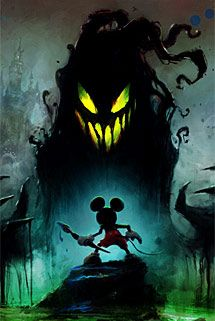 Mickey against the shadow blot Zombie Disney, Disney Epic Mickey, Disney Horror, Funny Disney Characters, Epic Characters, Drawing Cartoon Characters, Disney Cartoons, Cartoon Drawings, Disney Kunst