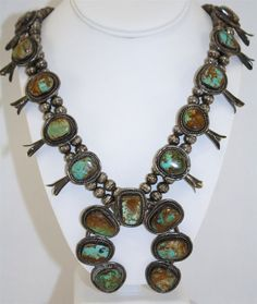 Antique Rare Sterling Silver Ajax Royston Mine Turquoise Squash Blossom Necklace