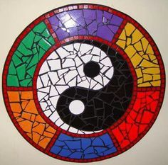 Yin & Yang Mosaic Mural created in ceramic tile by Brett Campbell Mosaics. Mosaic Birdbath, Mosaic Pots, Mosaic Wall Art, Mosaic Garden, Mosaic Glass, Mosaic Tiles, Mosaic Crafts, Mosaic Projects, Stained Glass Designs