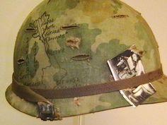 Vietnam War Helmet Art | Helmet Used in Vietnam with Original Graffiti on Helmet Cover