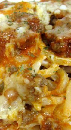 Baked Cream Cheese Spaghetti Casserole ~ Quick and delicious!