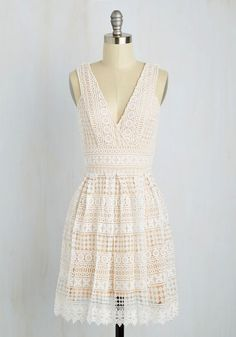 Boldest Geometric in the Book Dress - White, Tan / Cream, Solid, Crochet, Daytime Party, A-line, Sleeveless, Spring, Woven, Better, Mid-length, Lace