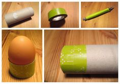 Eierbecher aus Toilettenpapierrolle / Egg cups made from toilet paper roll / Upcycling