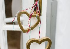 Large Gold wooden hearts #weddingdecor #goldwedding #glitterwedding buy preloved at www.sellmywedding.co.uk
