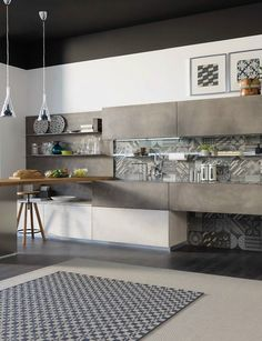 Wooden #kitchen with cement finish doors OLTRE by Cucine Lube