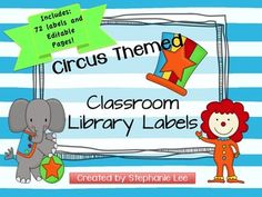 Included are 72 circus theme labels to be placed on the front of your classroom library book bins/baskets.  There are circus hat blue labels for general themes, circus hat green labels for science themes, and circus hat yellow labels for author baskets.  There is also an editable file (in Powerpoint only) so that you can create labels that aren't included in my set.    So that students are able to return books to the correct baskets, the labels are numbered, and included in this download…