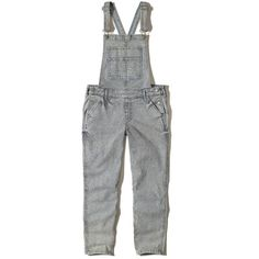 Hollister Railroad Stripe Overalls (1.205 ARS) ❤ liked on Polyvore featuring jumpsuits, railroad stripe, cropped jumpsuit, striped jumpsuit, embroidered jumpsuit, embroidered overalls and overalls jumpsuit
