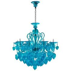New Blue Murano Style Glass 8 Light Chandelier - Modern Designer Lighting. This unique chandelier features hand-blown Murano style glass in a translucent blue color. Empire Chandelier, Chandelier Shades, Glass Chandelier, Chandelier Lighting, Turquoise Chandelier, Crystal Chandeliers, Glass Lamps, Glass Candelabra, Chandelier Ideas