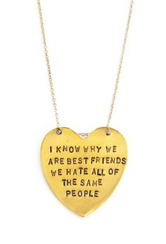 "Our ""I Know Why We Are Best Friends"" Heart-Shaped Necklace makes a perfect gift for any best friend! 1 hand stamped, heart shaped pendant - Message: ""I Kno"