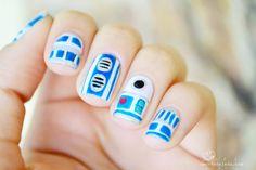 R2D2 inspired nail art