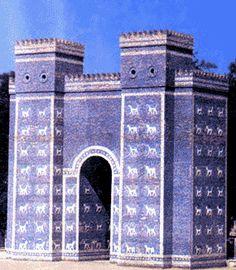 The Ishtar Gate at Babylon  Reconstruction Glazed Brick  Total Height–47 Feet, Width-32 Feet  Neo-Babylonian  7th–6th Centuries BC  Dedicator: Nebuchadnezzar II  Language: Akkadian  Date of Excavation: 1899-1914  Staatliche Museen , Berlin  Dept. of the Near East