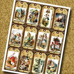 Alice In Wonderland- pRImItIvE Vintage Art Hang/Gift Tags/Cards/Labels - Printable Collage Sheet  JPG Digital File-BUy ONe GEt ONe FREE