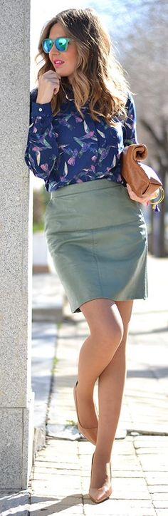 Teal Leather Skirt by Mi Aventura Con La Moda