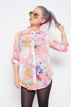 IRON FIST Womens Clouds of Caring Blouse Rainbows Colorful  #IronFist #Blouse #Casual