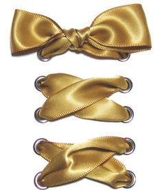 """7/8"""" Wide Gold Satin Ribbon Shoelaces ✿ Our beautiful ribbon shoelaces make your ordinary shoes look extraordinary ✿"""